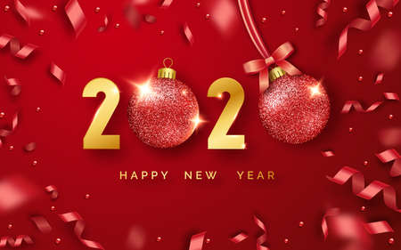 Happy New Year 2020. Background with shining numerals, balls and ribbons. New year and Christmas card illustration on red background. Holiday illustration of golden numbers 2020 Ilustracja