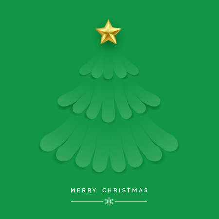 Christmas tree made of green ribbons. New year and Christmas card illustration on green background
