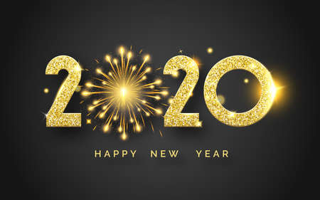 Happy New Year 2020. Background with shining numerals and fireworks. New year and Christmas card illustration on black background. Holiday illustration of golden textured numbers 2020 Çizim