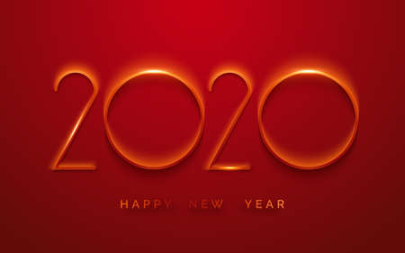 Happy New Year 2020 minimalist greeting card. Background with shining numerals. New year and Christmas card illustration on red background. Holiday illustration of red numbers 2020