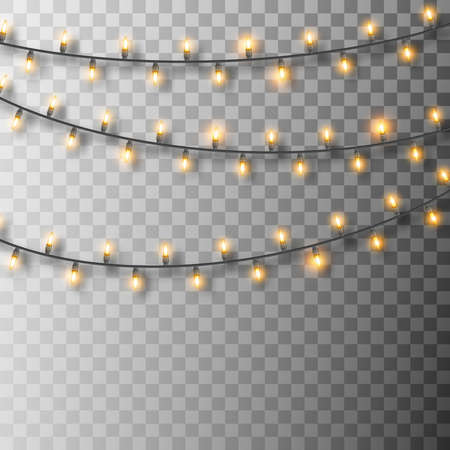 Set of glowing Christmas lights. Christmas garland lights. Decorative realistic bulbs. Holiday decor set of garlands with shadows