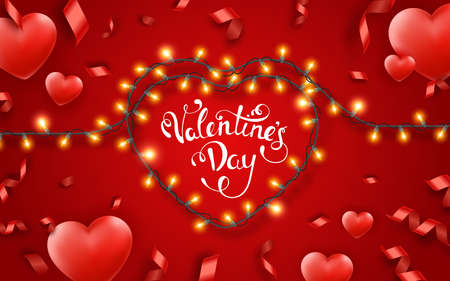 Valentines Day background with red hearts, ribbons, lights and text. Holiday lettering greeting card illustration on red background. Valentines day festive heart shaped lighting decoration Illustration