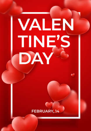 Valentines Day background with red hearts, frame and text. Holiday banner on red background. Valentines day festive heart shaped decoration Vector Illustration