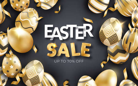 Easter sale black background with realistic golden decorated eggs, text and ribbons. Holiday poster, flyer, banner Vector Illustration