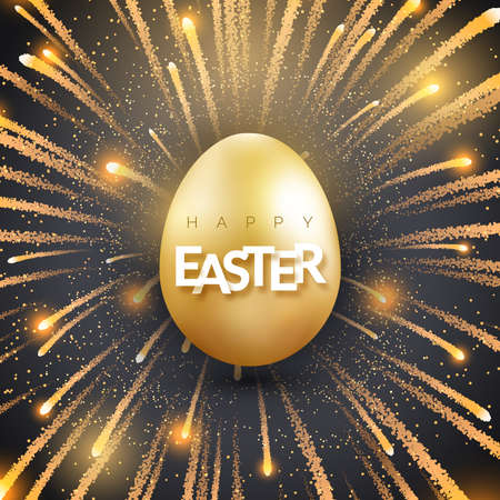 Easter background with shining golden egg and firework. Holiday vector card illustration on black background. Bursting firework and glitter texture