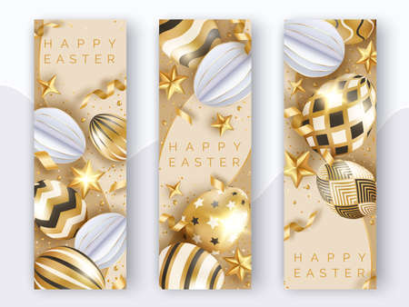 Three Easter vertical banners with realistic golden decorated eggs, ribbons, stars and balls. Easter card illustration on light background