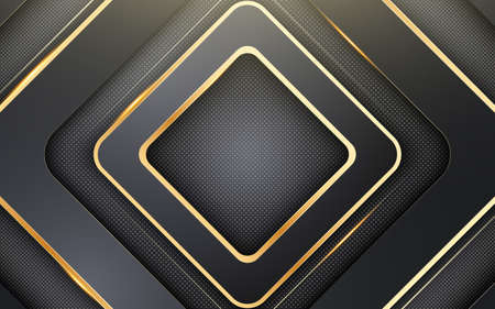 Black and gold paper cut background. Abstract background with black rhombus and shimmering glitter pattern. Composition with rhombus shapes