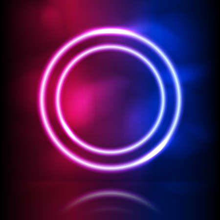 Glowing neon round vector frame. Glowing lighting and smoke loops. Pink blue spectrum vibrant colors, laser show