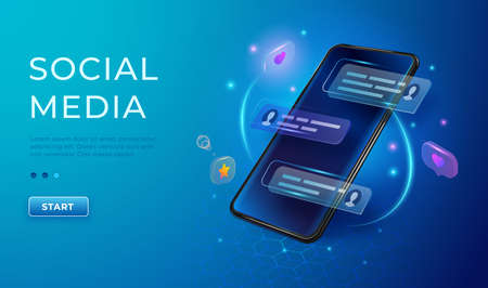 Chatting and communication concept 3d. Phone with likes and message icons. Smartphone application social media illustration