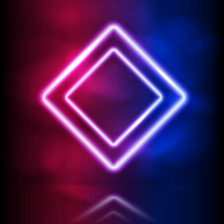 Glowing neon rhombus double frame. Glowing lighting and smoke loops. Pink blue spectrum vibrant colors, laser show