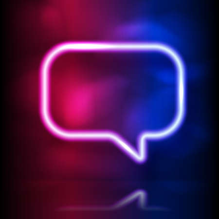 Glowing neon speech bubble vector frame. Glowing lighting and smoke loops. Pink blue spectrum vibrant colors, laser show