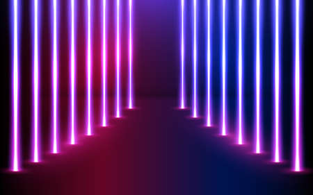 Glowing neon lines direction in perspective. Glowing vector futuristic lighting. Pink blue spectrum vibrant colors, laser show