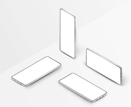 Set of white realistic isometric smartphones. 3d mobile phones with blank white screen. Modern vector cell phones template on white background. Mobile phones in different angles of view Vectores