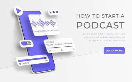 White realistic 3d smartphone. Webinar, online training, radio show or audio blog podcast concept. Mobile app infographic template with buttons and ui sliders. Interface for audio control illustration
