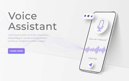 White realistic 3d smartphone. Voice assistant concept. Mobile app infographic template with buttons and audio waves. Interface for audio control illustration Vectores
