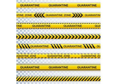 Danger tape quarantine. Warning tape fencing. Black and yellow diagonal stripes. Epidemic covid-19 orange tape with quarantine inscription