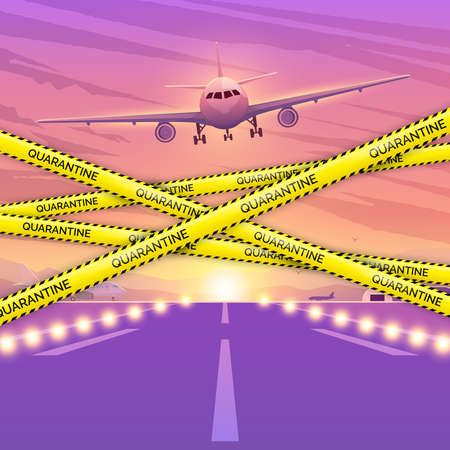 Airplane flying in sky. The concept of the prohibition of flights. Quarantine airplane image. Ban on flights, travels and movements. Coronavirus pandemic Vectores