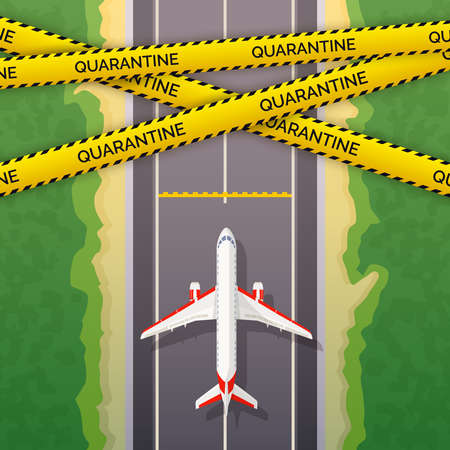 Airplane stopped on road. The concept of the prohibition of flights. Quarantine airplane image. Ban on flights, travels and movements. Coronavirus pandemic
