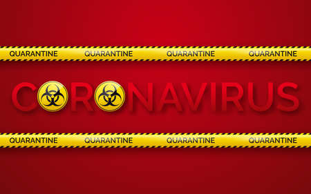 Danger tape quarantine zone, biohazard signs and coronavirus. Warning tape fencing. Pandemic covid-19 yellow tape with quarantine inscription on red background Illustration