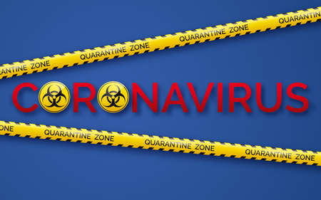 Danger tape quarantine zone, biohazard signs and coronavirus. Warning tape fencing. Pandemic covid-19 yellow tape with quarantine inscription on blue background