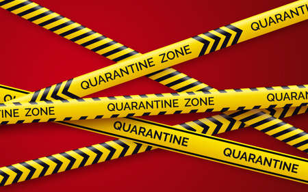 Danger tape quarantine. Warning tape fencing. Black and yellow diagonal stripes. Epidemic covid-19 orange tape with quarantine inscription