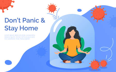 Coronavirus outbreak concept. A girl sits in a meditation pose under a glass cap. Covid-19 virus in air. Staying home with self quarantine. Protect from viruses Illustration