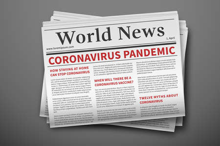 Epidemic breaking news. Mockup of coronavirus newspaper. Coronavirus outbreak newsletter paper page. Mockup of a daily newspaper. News related of the COVID-19