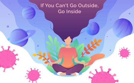 Coronavirus outbreak concept. A girl sits in a meditation pose. Covid-19 virus in air. Staying home with self quarantine. Protect from viruses. Quarantine and self isolation concept