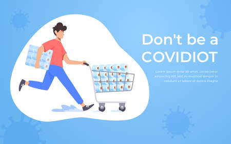 Running man pushing supermarket trolley full of toilet paper. Coronavirus panic 2020 concept. Stocking up toilet paper for home quarantine. Covidiot Illustration