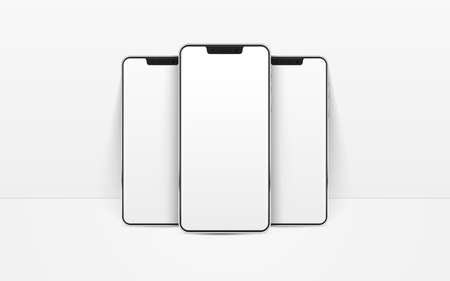 White realistic smartphones mockup. 3d mobile phones with blank white screen. Modern cell phones template on white background. Illustration of device 3d screen