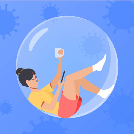 The girl in the bubble drinking coffee. Young woman and smartphone. Quarantine and self isolation concept. Staying home with self quarantine. Protect concept girl in glass sphere Illustration
