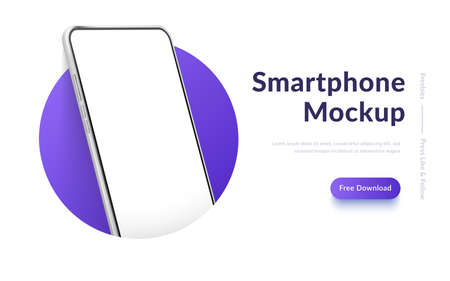 White realistic smartphone mockup in the circle. 3d mobile phone with blank white screen. Modern cell phone template on gradient background. Illustration of device 3d screen
