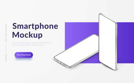 Two white realistic isometric smartphones vector mockup. 3d mobile phones with blank white screen. Modern cell phones template on gradient background. Illustration of device 3d screen