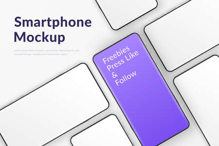 Realistic smartphones mockup. 3d mobile phones with blank white screen and one violet. Modern cell phones template on white background. Illustration of device 3d screen