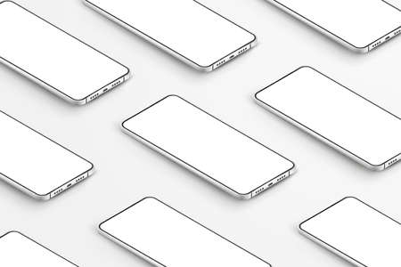 Realistic smartphones mockup. 3d mobile phones with blank white screens. Modern cell phones template on white background. Illustration of device 3d screen Illustration