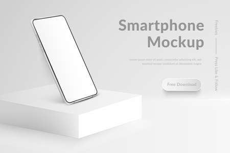 White realistic smartphone mockup on square podium. 3d mobile phone with blank white screen. Modern cell phone template on light background. Illustration of device 3d screen