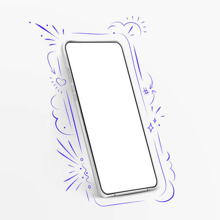 White realistic vector smartphone mockup with hand drawn elements. 3d mobile phone with blank white screen. Modern cell phone template and doodles elements. Illustration of device 3d screen
