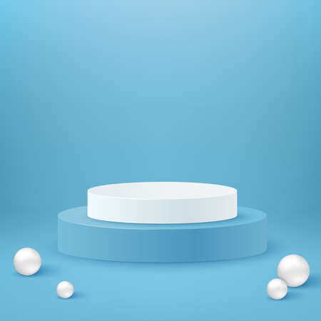 Realistic cylinder podium. White and blue round podium stage and 3d exhibit displays. 3d geometric shapes vector set. Spheres and pedestal circle