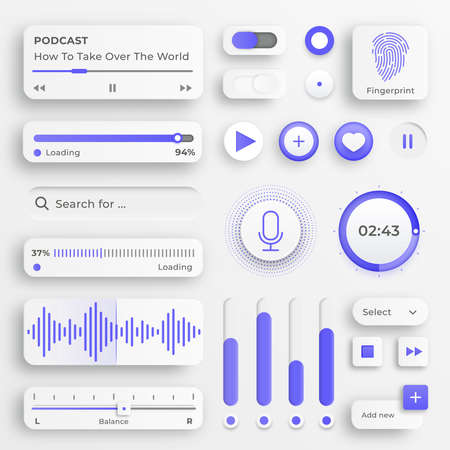 User interface elements. Sliders for websites, mobile menu, navigation and apps. White web buttons and ui sliders. Interface for video and music control. Ui vector icons set