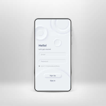 Neumorphic UI kit on smartphone screen. Login and registration form on white smartphone template. Input field for registration and sign in on the phone. Mobile interface app. UI vector template Illustration