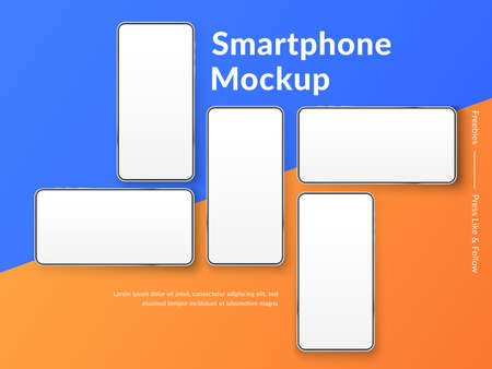 Realistic smartphones mockup. 3d mobile phones with blank white screen. Modern cell phones template on colour background. Illustration of device 3d screen