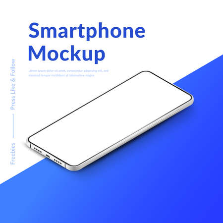 White realistic isometric smartphone mockup. 3d mobile phone with blank white screen. Modern cell phone template on gradient background. Illustration of device 3d screen