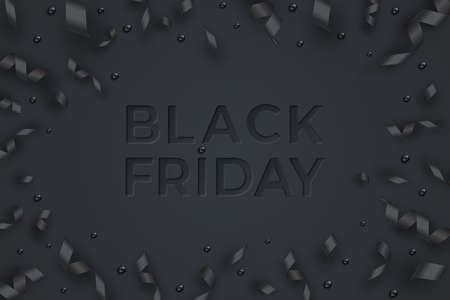 Serpentine, balls and black ribbons. Black friday sale template. Neumorphism style text Фото со стока - 156226109