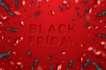Serpentine, balls and red ribbons. Black friday sale template. Neumorphism style text Фото со стока - 156226111