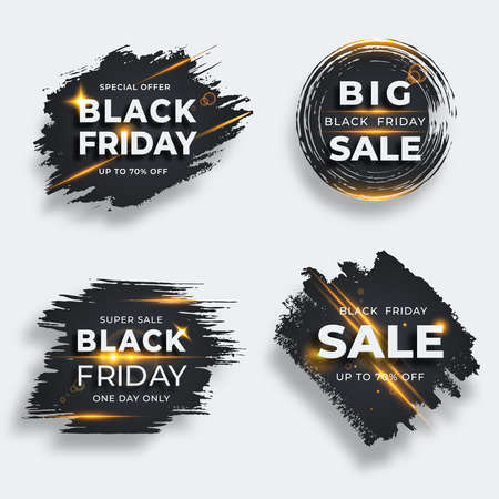 Set of four black brush strokes with flare. Black friday sale templates. Grunge abstract black rough brush strokes