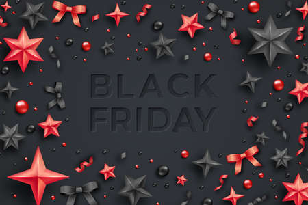 Black friday sale poster with serpentine, balls, stars and ribbons. Black friday sale template Иллюстрация
