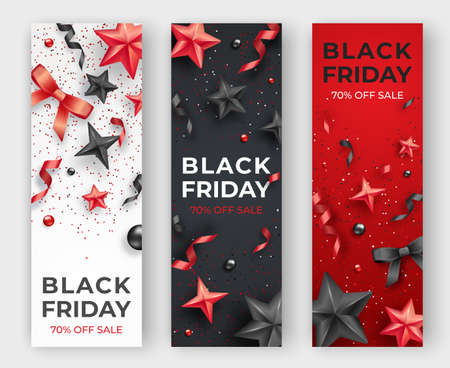 Three Black friday vertical banners with realistic ribbons, stars and colorful balls. Holiday card illustration on red, white and black background