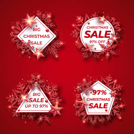 Christmas sale badges with shining red snowflakes, balls, stars and confetti. Merry Christmas illustration on red background. Sparkling red snowflakes with glitter texture