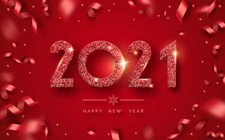 Happy New Year 2021. Background with shining numerals and ribbons. New year and Christmas card illustration on red background. Holiday illustration of red textured numbers 2021 Иллюстрация