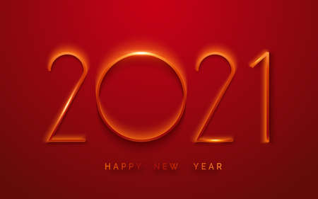 Happy New Year 2021 minimalist greeting card. Background with shining numerals. New year and Christmas card illustration on red background. Holiday illustration of red numbers 2021